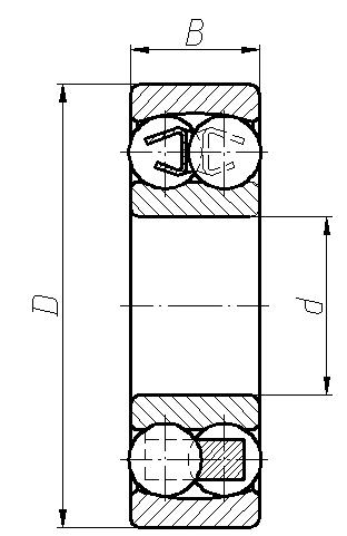 лагери-сачмени-двуредни-чертеж